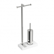 ACCESSORIES 9100 FREESTANDING PAPER AND TOILET BRUSH SS BATH