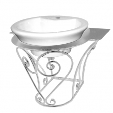 ACCESSORIES POSEIDON  BASIN STAND WHITE PEWTER POSEIDON
