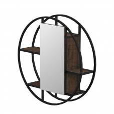 FERRO 800 ROUND WALL MIRROR UNIT- MATT BLACK STEEL & NAPOCA