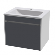 HUGO 600 WALL HUNG UNIT-P/WHITE+S/GREY FRONTS+HUGO 600 BASIN