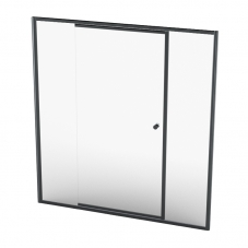 MON15BC 1530-1630*1860MM MONO TEL PIVOT DOOR - BLACK/CLEAR